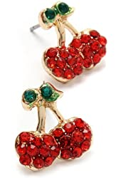Small Gold Tone Red and Green Crystal Juicy Cherry Charm Stud Earrings for Teens and Women