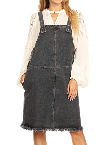 Anna-Kaci Womens Casual A-line Adjustable Strap Frayed Hem Distressed Pockets Acid Wash Bib Pinafore Jumper Denim Overall Dress, Small, Black Denim