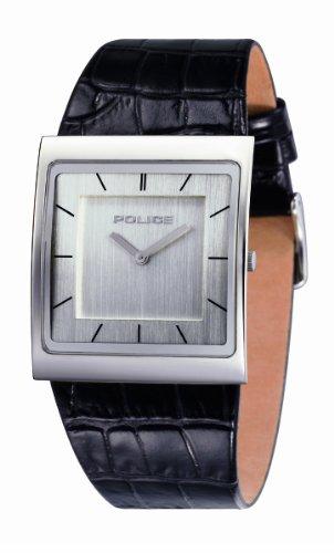 Police Women's PL-10849MRS/04 Skyline Silver Dial Black Leather Watch