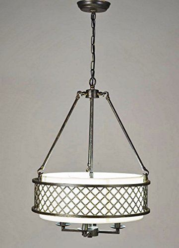 Diamond Life 4-light Antique Bronze Frame Beige Round Shade Chandelier Hanging Pendant Ceiling Lamp Fixture