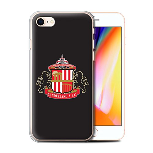 Officiel Sunderland AFC Coque / Etui Gel TPU pour Apple iPhone 8 / Noir Design / SAFC Crête Club Football Collection