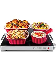 Chefman Compact Glasstop Warming Tray with Adjustable Temperature Control, Perfect for Buffets, Restaurants, Parties, Events, Home Dinners and Travel, Mini 15x12 Inch Surface, Keeps Food Hot, Black