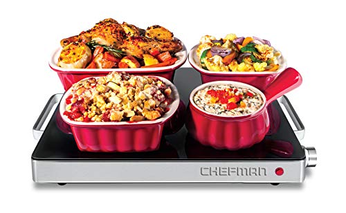 (Chefman Compact Glasstop Warming Tray with Adjustable Temperature Control Perfect for Buffets, Restaurants, Parties, Events, Home Dinners and Travel, Mini 15x12 Inch Surface, Keeps Food Hot, Black)