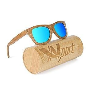 Ynport Mens/Womens Polarized Full Charcoal Bamboo Frame Classic Wooden Coated Sunglasses, vintage Eyewear, Floating Wayfarer