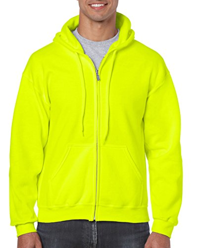 Gildan Men's Fleece Zip Hooded Sweatshirt, Safety Green, X-Large