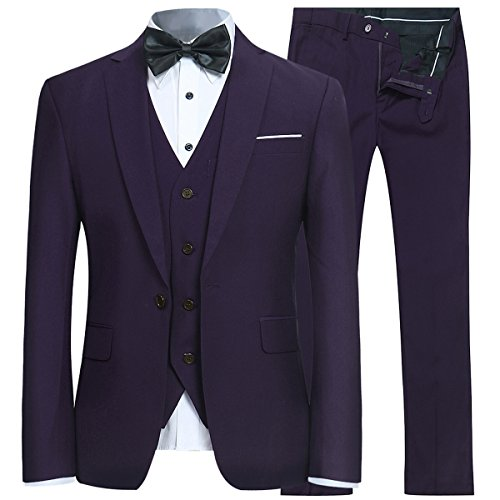 Tall Suit Coat (Men's Slim Fit 3 Piece Suit One Button Blazer Tux Vest & Trousers)