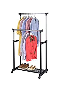 finnhomy double rail adjustable rolling garment rack with bottom shelfmetal hanging clothes rack free standing portable hanger on wheels thicken steel