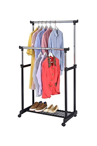 Finnhomy Double Rail Adjustable Rolling Garment Rack with Bottom Shelf,Metal Hanging Clothes Rack, Free Standing Portable Hanger on Wheels, Thicken Steel Tube Chrome/Black