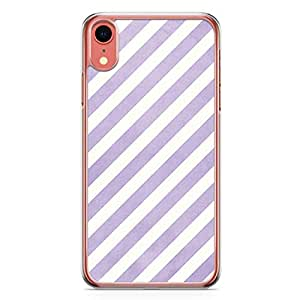 Loud Universe Case For iPhone XR Transparent Edge Pruple White Stripes Pattern iPhone XR Cover