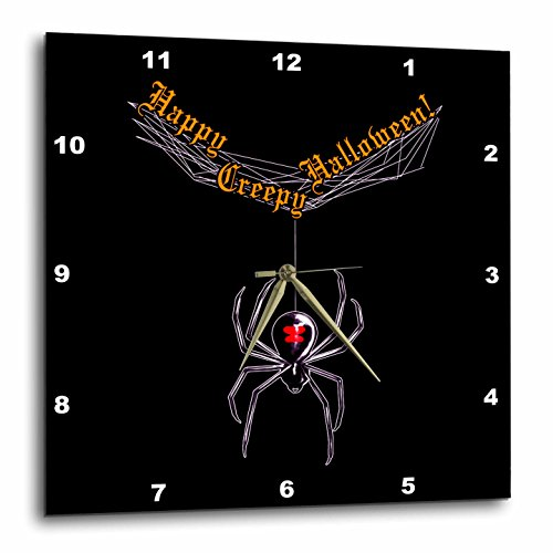 Spider Web Clock (Dream Essence Designs-Holidays Halloween - Black Widow Spider and Web wishing Happy Creepy Halloween black background - 15x15 Wall Clock)