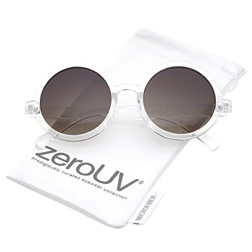 zeroUV - Classic Retro Horn Rimmed Neutral-Colored Lens Round Sunglasses 52mm (Clear / - Sunglasses Classic Round