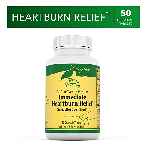 Terry Naturally Immediate Heartburn Relief - 50 Chewable Tablets - Vitamins K and D3, Relieves Occasional Heartburn, Acid Indigestion, Upset Stomach, Promotes Heart Health - Gluten-Free - 50 Servings (Best Immediate Heartburn Relief)