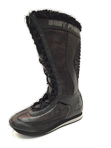 's Quilted Winter Boots with Faux Fur Trim, Black (6 B(M) US) (Baby Phat Shoes Boots)