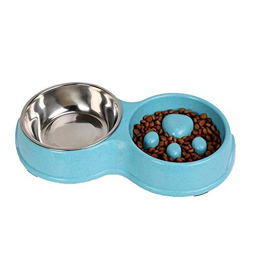 Nosterappou Pet Slow Food Double Bowl, Non-Slip cat Food Bowl Slow Food pet Non-Slip cat Food Bowl Supplies, Food Grade Material, Safe and odorless