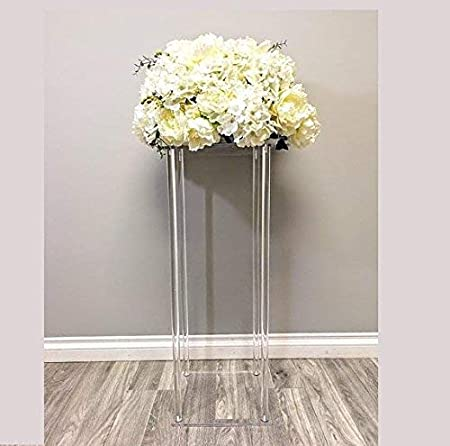 Everbon Pack Of 10 23 6 Inches Tall Acrylic Floor Vase Clear Flower Vase Table Centerpiece For Marriage Modern Vintage Floral Stand Columns For Wedding Decoration Amazon Co Uk Kitchen Home