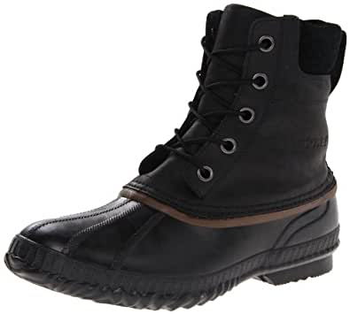 Sorel Men's Cheyanne Lace Full Grain Rain Boot,Black/Dark Brown,7 M US