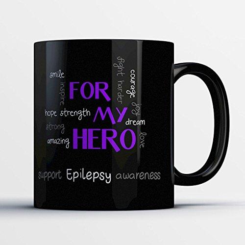 Lymphoma Ceramic Travel Mug (Awareness Coffee Mug - Epilepsy Awareness - Adorable 11 oz Black Ceramic Tea Cup - Cute Epilepsy Patient And Awareness Advocate Gifts with Awareness Sayings)