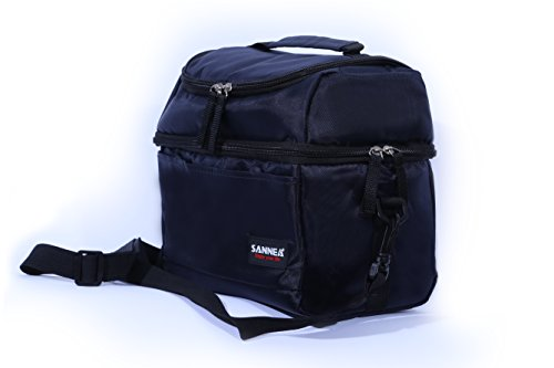 DOUBLE COMPARTMENT INSULATED LUNCH BAG BY LEEEBS (TM) (Navy) (Classy Lunch Bag)