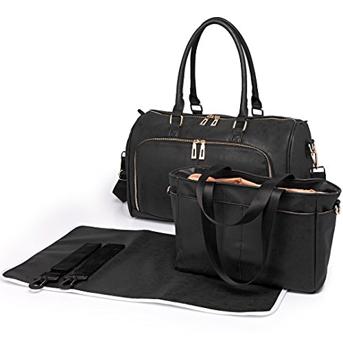Miss Lulu 3 Piece Baby Nappy Diaper Changing Bag Set Large Shoulder Handbag PU Leather Tote (6638 Black)