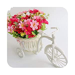 Artificial Fowers Artificial Flower Set Rattan Bicycle Basket Flower Bouquets for Wedding Car Outdoor Indoor Household Table Decor,Rose Pink 23