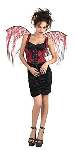 UHC Women's Dark Gothic Fairy Corset w/ Wings Demon Outfit Halloween Costume, (Demon Outfits Halloween)