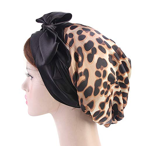 Vintage Women Satin Head Scarf Chemo Cap Bowknot Turban Head Wrap Hair Loss Cap Headwrap (Leopard Print) - Leopard Vintage Hat