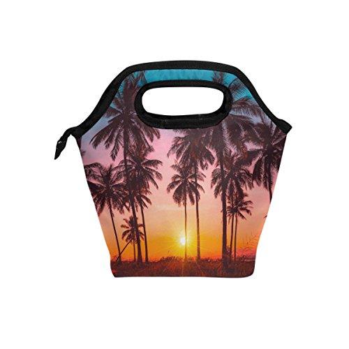 JOYPRINT Lunch Box Bag, Palm Tree Sunset Insulated Cooler Ice Lunchbox Tote Bag Handbag for Men Women Kids Adult Boys Girls by JOYPRINT