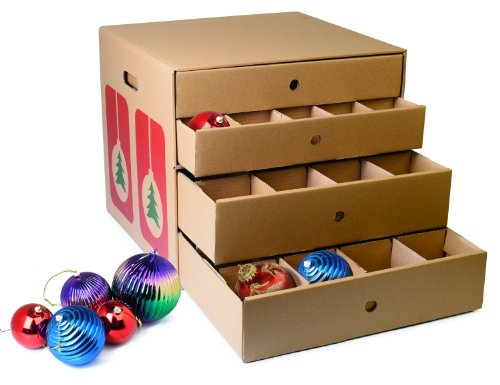 Christmas Decoration Storage Large Corrugated Ornament Organizer with Dividers – Hold Up to 82 Ornaments! BY JUMBL™ NEW!!!