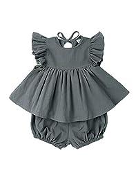 AYIYO Baby Girls Short Sleeves Cotton Linen Shirt Dress with Bloomer Shorts