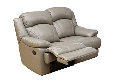 Abbyson Living Maverick Top Grain Leather Reclining Loveseat, Gray
