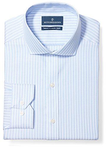 BUTTONED DOWN Men's Tailored Fit Cutaway-Collar Pattern Non-Iron Dress Shirt, Blue Textured Stripe, 14.5