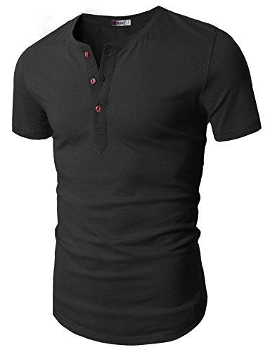 H2H Mens Casual Slim Fit Raglan Baseball Three-Quarter Sleeve Henley T-Shirts Charcoal US 3XL/Asia 4XL (D15S_KMT05S)