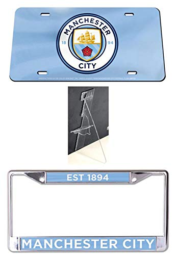 Wincraft Bundle 3 Items: Manchester City 1 Chrome License Plate Frame, 1 Premium License Plate, and 1 License Plate ()