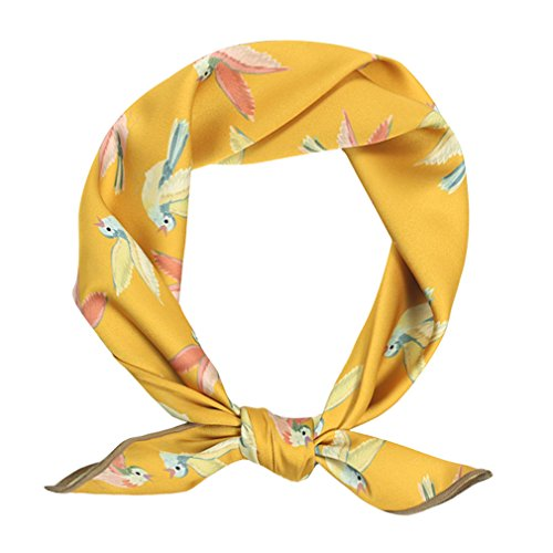 GERINLY Neckerchief Small Square Scarf Birds Print Fashion Hair Ties (Gold)