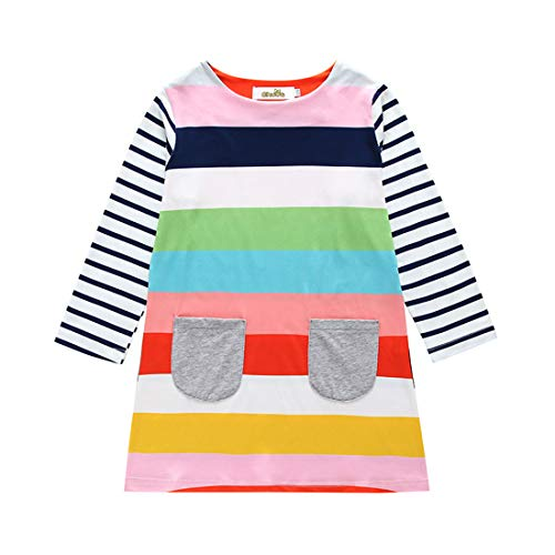 Toddler Baby Girls Christmas Outfits Striped Santa Claus Xmas Deer Print Party Dress Clothes Outfit (Rainbow, 12-24M) -