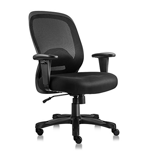 h Chair Heavy Duty Ergonomic Office Chair Executive Computer Desk Chair with Back Lumbar Support and Adjustable Arms 400lbs (Black) ()