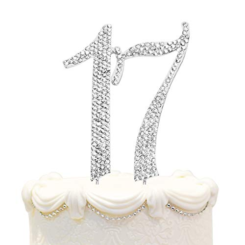 Hatcher lee Bling Crystal Rhinestone 17 Birthday Cake Topper - Best Keepsake | 17th Party Decorations Silver -