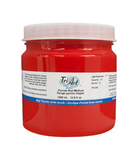 Tri-Art High Viscosity Paint, 1000ml, Medium Pyrrole Red by Tri-Art
