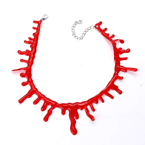 Xeminor Stockton 1x Halloween Red Bloody Necklace Blood Drop Necklace Halloween Accessory Costume Jewelry Accessory Chains
