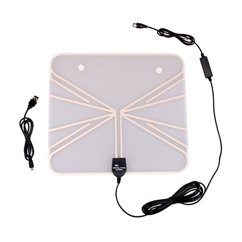 HitCar Ultra-Thin Indoor HOME HDTV Digital TV ISDB ATSC DVBT VHF UHF TV Antenna (50 Mile Range)