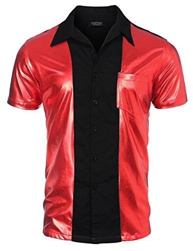 COOFANDY Men's Party Shirt Shiny Metallic Disco Nightclub Style Halloween Short Sleeves Button Down Bowling Shirts, Red, Small -