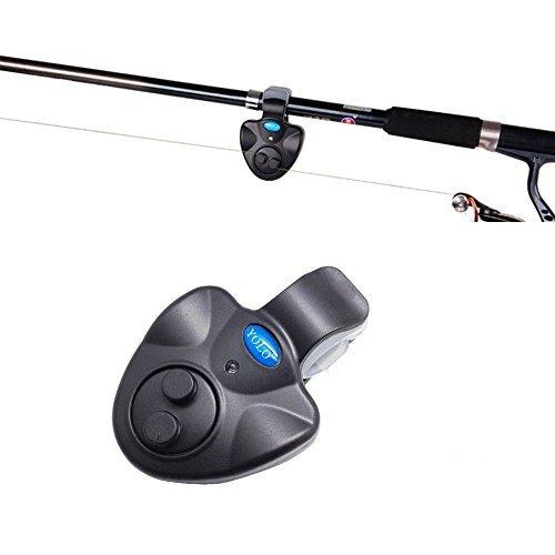 Fishing Bite Alarm, Electronic Fishing Indicator with Sensitive Sound LED Light for Fishing Pole Rods Line Daytime/Night Fishing (2 PACK)