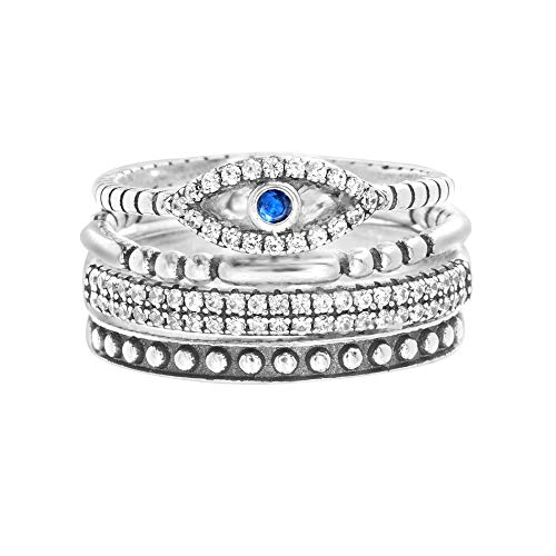 Willowbird Oxidized Sterling Silver Multi-Pack Cubic Zirconia Stackable Eternity Ring for Women Set (Evil Eye Size 6) (Eye Stackable)