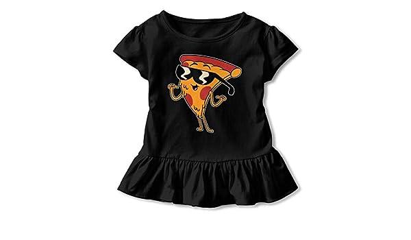 Pizza Thug Toddler Baby Girls Cotton Ruffle Short Sleeve Top Basic T-Shirt 2-6T
