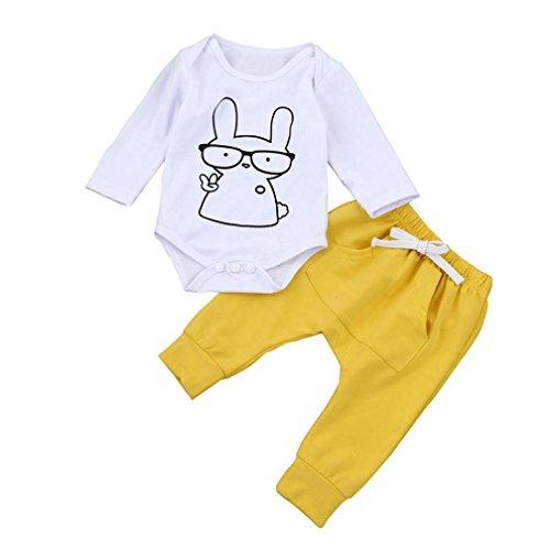 Cartoon Print Romper Tops+Pants Set, Keepfit Newborn Kids Baby Girls Boys Outfits Clothes Unique Design (0-6 Months, Yellow)