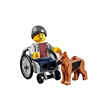LEGO Town City Fun in the Park Minifigure - Disabled Handicapped Man Boy with Dog in Wheelchair (60134)