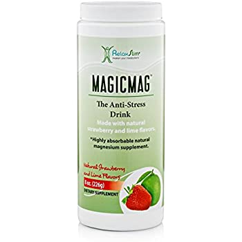 NaturalSlim Anti Stress Drink - Pure Magnesium Citrate Powder with Organic Strawberry and Lime Flavor - Natural Aid to a Slow Metabolism, ...