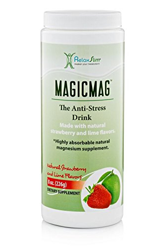RelaxSlim Anti Stress Drink - Pure Magnesium Citrate Powder with Organic Strawberry and Lime Flavor - Natural Aid to a Slow Metabolism, Constipation & Sleeping Difficulties - 8 oz (Solo Pack)