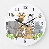 ymot101 Safari Jungle Animals Baby Nursery Kids Room Wood Wall Clocks Silent Non Ticking for Bedrooms Living Room Nursery Kids Room Birthday Housearming Gifts 12in