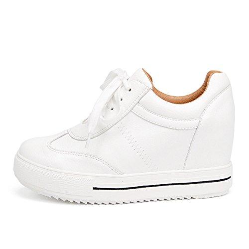 HBDLH-Zapatos de Mujer/En Primavera Los Zapatos Blancos La Cabeza Redonda Los Zapatos De Moda La Mujer La Pendiente Y El Ocio La Comodidad De Los Estudiantes. white
